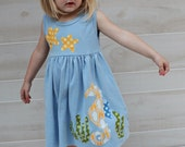 Summer Dress - Beach Dress - Seahorse and Starfish Applique- You Choose Dress Color and Sleeve Length