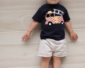 Firetruck Shirt - Boys Birthday Shirt - Firetruck Applique-  You Choose Shirt Color, Sleeve Length or Personalize (Number or Initial)