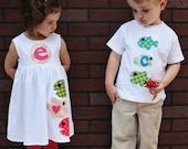 Summer Dress and Shirt Set- Fish Applique- Brother Sister Sibling Set