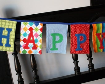Happy Birthday Banner Bunting Garland - Made from Fabric - Eco-Friendly and Lasts for Years