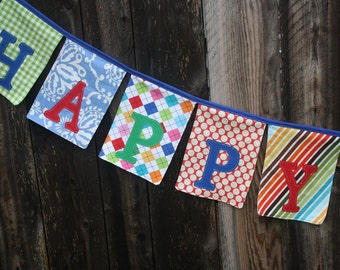 Happy Birthday Fabric Banner Bunting Garland