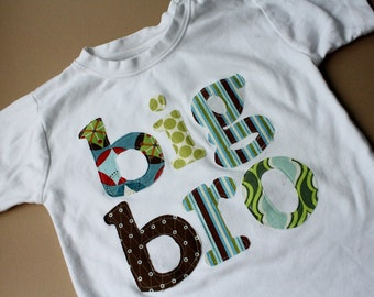 Big Bro Applique Shirt -Choose Shirt Color and Sleeve Length - Perfect for Family Pictures, Pregnancy Announcement, Baby Shower Gifts