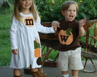 Brother Sister Matching Outfit -  Fall Halloween Pumpkin Applique Outfits  - Great for Fall Photo Shoot or Family Pictures