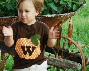 Fall Applique Shirt or One-Piece- Pumpkin Personalized with Initial- You Choose Shirt Color, Initial, and Sleeve Size