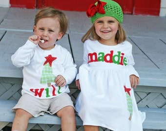 Brother Sister Sibling Set -  Christmas Applique Outfits  - Great for Fall Photo Shoot or Family Pictures