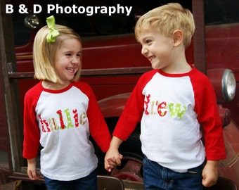 Christmas Shirt - Personalized Holiday Name Shirt - Perfect for Pictures or Photoshoot