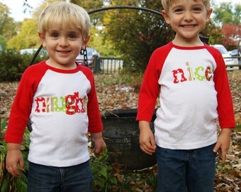 Christmas Shirts - Naughty and Nice Shirts -Brother Sister Sibling Set - Perfect for Photoshoots