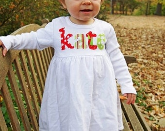 Christmas Dress with Name Applique - You Choose Fabric Colors, Dress Color and Sleeve Length