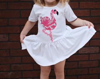 Toddler Summer Dress - Flamingo Dress - Applique Dress