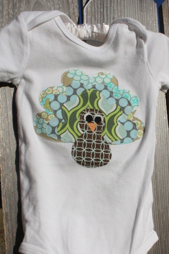 Turkey applique shirt or onesie you choose shirt color and for Applique shirts for sale