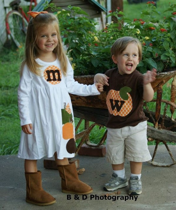 Brother Sister Sibling Set -  Fall Halloween Pumpkin Applique Outfits  - Great for Fall Photo Shoot or Family Pictures
