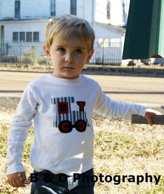 Train Shirt Train Applique- You Choose Shirt Color and Sleeve Length