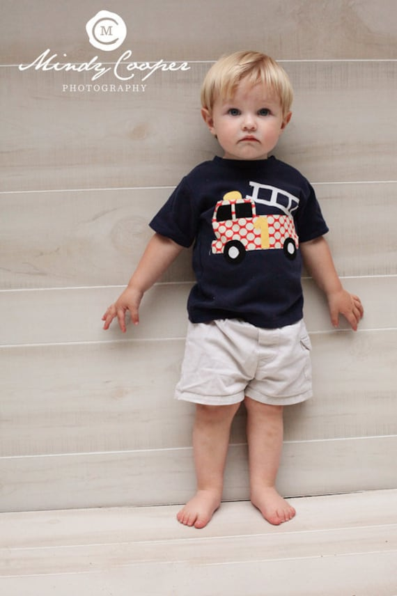 Firetruck Birthday - Boys Birthday - Fire truck Applique-  You Choose Shirt Color, Sleeve Length or Personalize (Number or Initial)