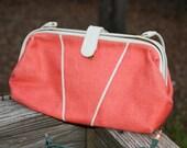 Late Summer Sale- Vintage Pink Coral  Purse- Parisian