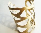 cuff bracelet - women's brass nebula bracelet - handmade by lolide