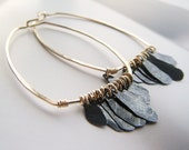 gold earrings with black fringe, oxidized sterling silver, handmade by lolide
