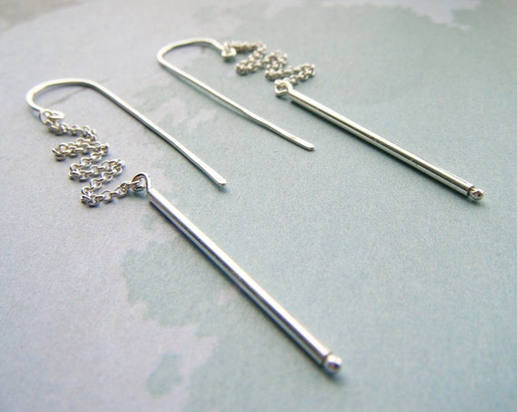 modern dangle earrings - long sterling silver exclamation point - handmade by lolide