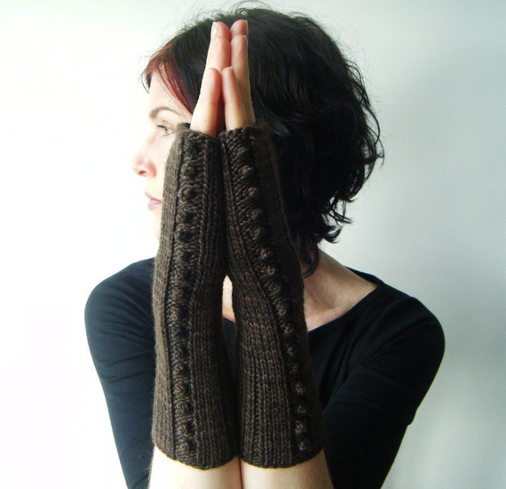women's fingerless gloves - arm warmers - fair trade woodland brown - women's clothing - handmade by lolide