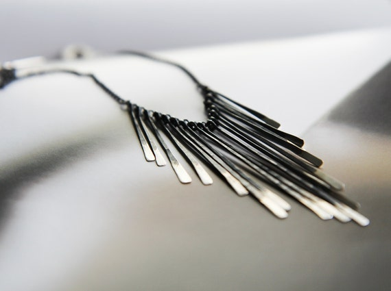 """LAST ONE - modern sterling silver statement necklace - """"quills"""" bib necklace - handmade by lolide"""