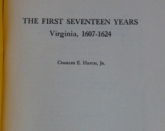 Book, Virginia History First Seventeen Years 1607-1624, Books, Paper Back, History Books, Vintage Books, Old Books,