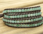 Leather Wrap Beaded Bracelet - New Jade beads on leather