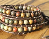 Beaded Leather Wrap Bracelet - Red Creek Jasper beads on leather