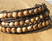 Triple Wrap Bracelet - Earthy Picture Jasper stone beads on leather