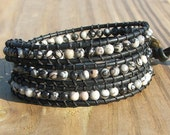 Handmade Leather Wrap Bracelet - Black Silk Stone on Black leather