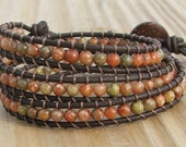 Handmade Leather Wrap Bracelet - Autumn  Jasper beads on leather
