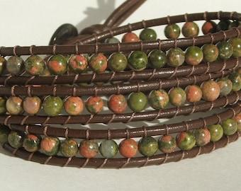 Handmade Leather Wrap Bracelet - Unakite beads on Brown leather