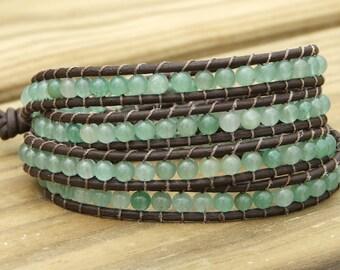 Leather Wrap Beaded Bracelet - New Jade beads on leather