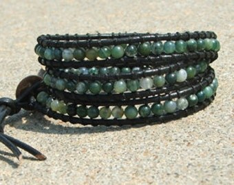 Handmade Leather Wrap Bracelet - Green Agate  beads on black leather