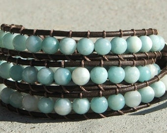 Handmade Beaded Leather Wrap Bracelet - Amazonite beads on brown leather