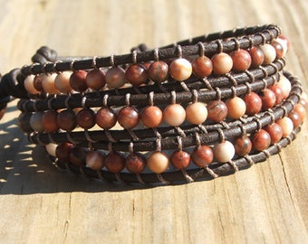 Handmade Leather Wrap Bracelet - Red Sesame Jasper on leather