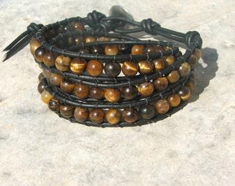 Leather wrap bracelet- Tiger eye on brown leather