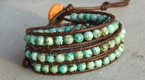 Handmade Leather Wrap Bracelet - African turquoise on leather