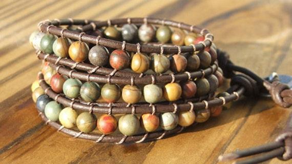 Beaded Leather Wrap Bracelet - Red Creek Jasper beads on leather