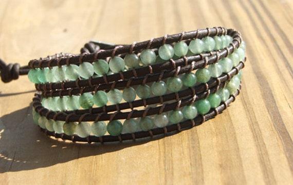 Leather Wrap Bracelet - New Jade beads on leather