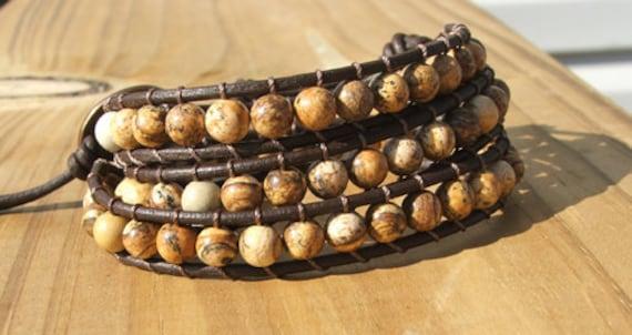 Triple Wrap Bracelet - Earthy Picture Jasper stone beads on leather