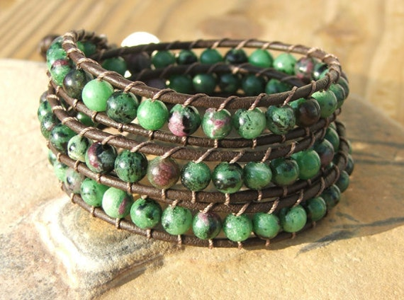 Handmade Beaded Leather Wrap Bracelet - Ruby in Zosite beads on leather