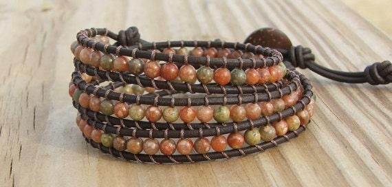 Handmade Leather Wrap Bracelet - Autumn  Jasper beads on leather