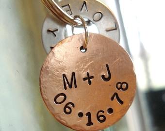 LOVE YA - Hand Stamped Washer Key Chain and Copper Disc
