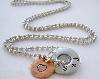 Personalized Ball Chain Necklace - Hardware Washer and Copper Disc