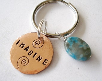 Imagine Key Chain with Copper Disc & Turquoise Bead