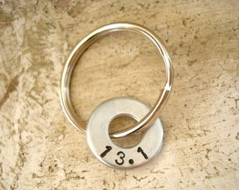 Runners Half Marathon Key Chain with Hardware Washer