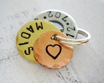 Personalized Small Dog Tag - Pet Tag - Small Cat Tag - Hand Stamped Washer, Brass disc and Copper Disc