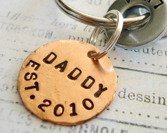 Gift for DADDY - DAD - PAPA - Personalized Hand Stamped Key Chain - Washer Key Chain and Copper Disc