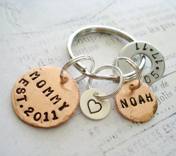 MOMMY Key Ring - Two Copper Disc, One Washer and One Sterling Silver Disc