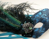 Peacock Teal Lace Masquerade Mask