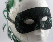 The Morgan Emerald Green and Black Lace Masquerade Mask